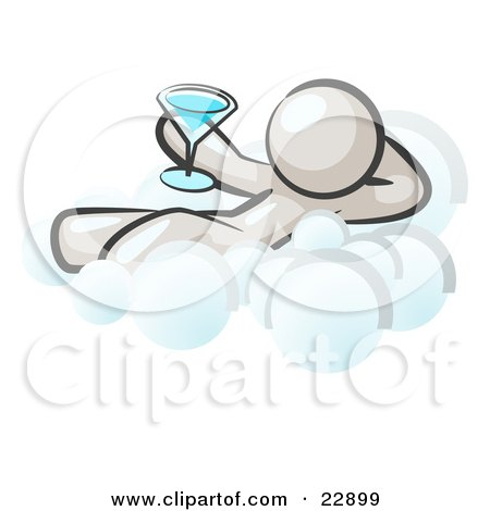 Clipart Illustration of a Relaxed White Man Drinking A Martini And Kicking Back On Cloud Nine by Leo Blanchette