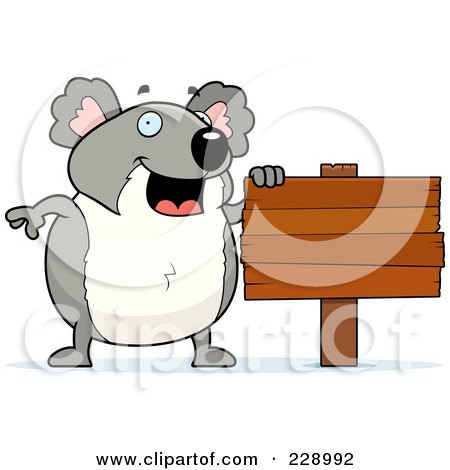 Royalty-Free (RF) Clipart Illustration of a Koala Standing By A Blank Wooden Sign by Cory Thoman