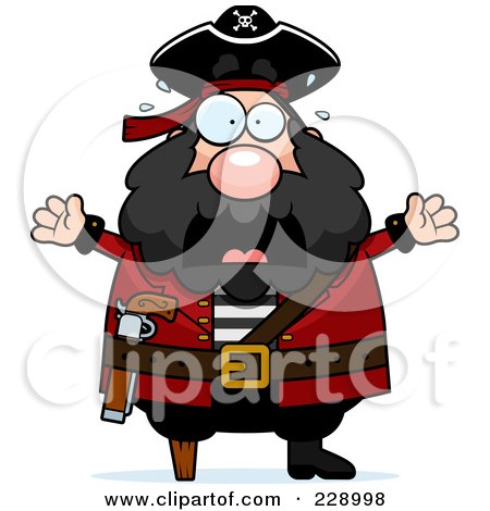 Royalty-Free (RF) Clipart Illustration of a Scared Pirate Man by Cory Thoman