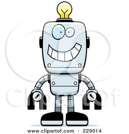 Royalty-Free (RF) Clipart Illustration of a Happy Metal Robot With A Light Bulb Brain by Cory Thoman