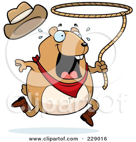 Royalty-Free (RF) Clipart Illustration of a Rodeo Hamster Swinging A Lasso by Cory Thoman