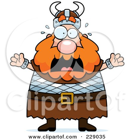 Royalty-Free (RF) Clipart Illustration of a Scared Viking Man by Cory Thoman