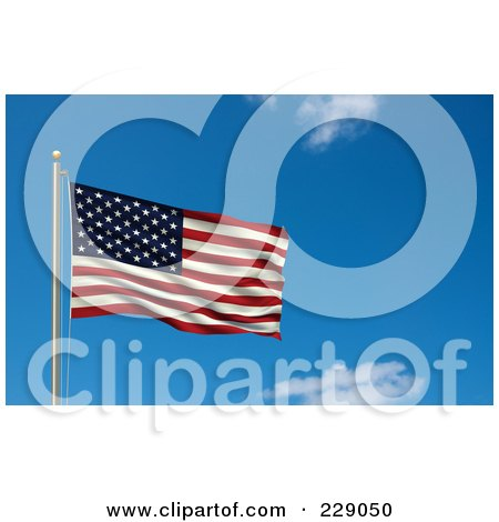 Royalty-Free (RF) Clipart Illustration of the Flag Of USA Waving On A Pole Against A Blue Sky by stockillustrations