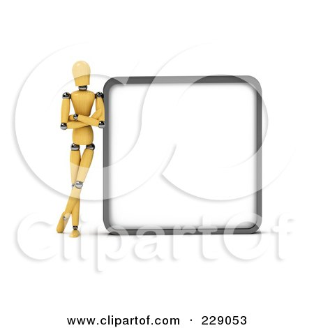 Royalty-Free (RF) Clipart Illustration of a 3d Wooden Mannequin Leaning Against A Blank Sign Board by stockillustrations