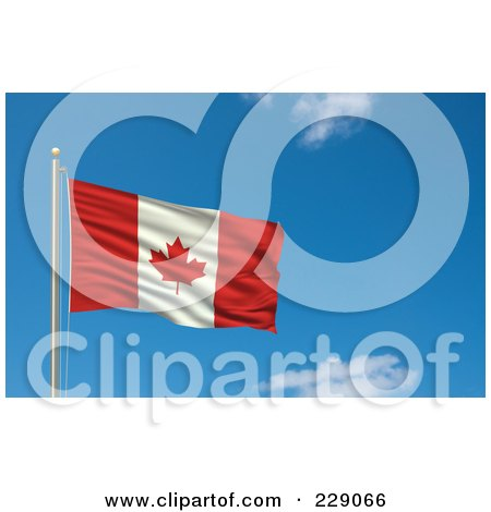 Royalty-Free (RF) Clipart Illustration of the Flag Of Canada Waving On A Pole Against A Blue Sky by stockillustrations