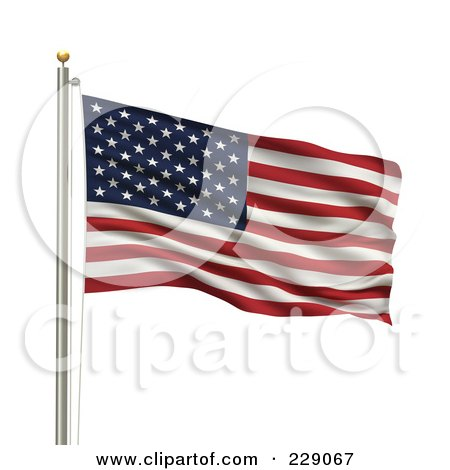 Royalty-Free (RF) Clipart Illustration of The Flag Of Usa Waving On A Pole by stockillustrations