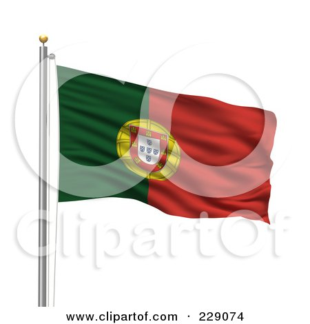 Royalty-Free (RF) Clipart Illustration of The Flag Of Portugal Waving On A Pole by stockillustrations