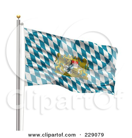 Royalty-Free (RF) Clipart Illustration of The Flag Of Bavaria Waving On A Pole by stockillustrations