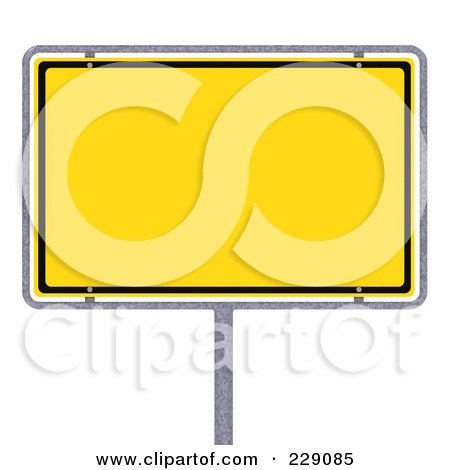 Royalty-Free (RF) Clipart Illustration of a 3d Blank Yellow German City Limits Sign by stockillustrations