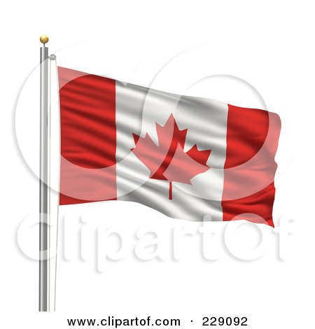 Royalty-Free (RF) Clipart Illustration of The Flag Of Canada Waving On A Pole by stockillustrations