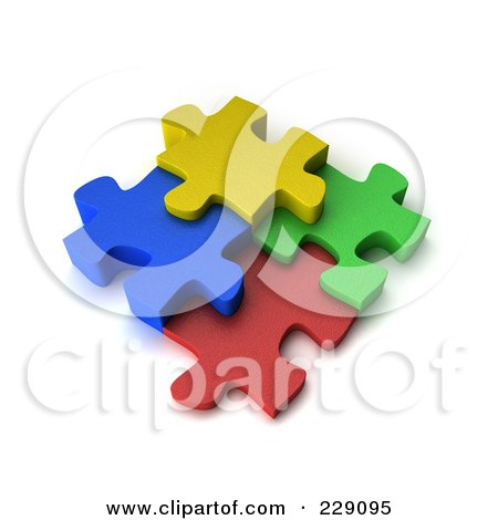 Royalty-Free (RF) Clipart Illustration of Four Colorful 3d Puzzle Pieces Connected by stockillustrations