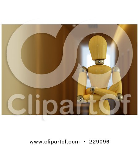 Royalty-Free (RF) Clipart Illustration of a 3d Wooden Mannequin Standing With His Arms Folded In A Hallway by stockillustrations