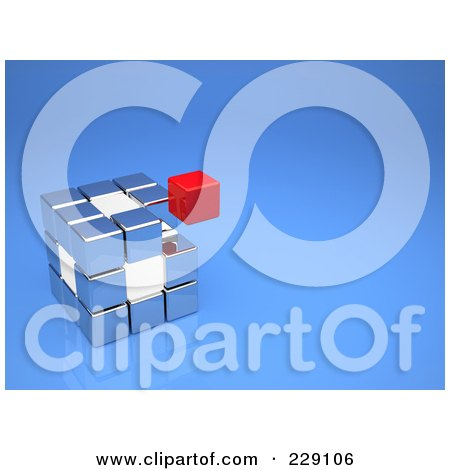 Royalty-Free (RF) Clipart Illustration of a Floating Red Cube Above A Silver And White Cube On Blue by chrisroll