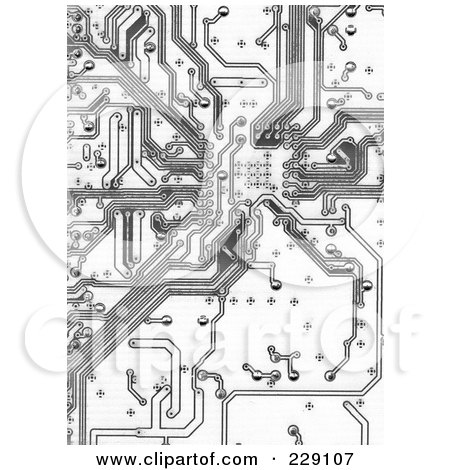 Royalty-Free (RF) Clipart Illustration of a Black And White Circuitry Background by chrisroll