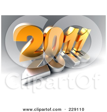 Royalty-Free (RF) Clipart Illustration of a 3d Golden New Year 2011 On Top Of A Silver 2010 On A Gray Background by chrisroll