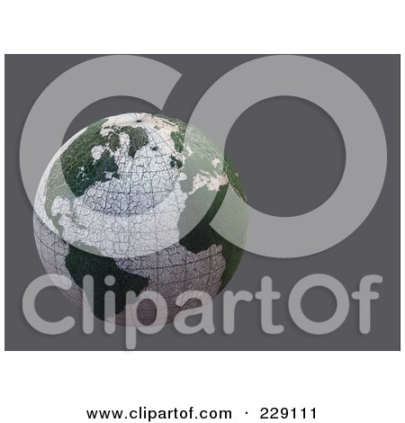 Royalty-Free (RF) Clipart Illustration of a 3d Dry Cracking Globe Over Gray by chrisroll
