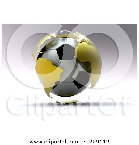 Royalty-Free (RF) Clipart Illustration of a 3d Gold Globe Around A Soccer Ball On A Shaded Gray Background by chrisroll