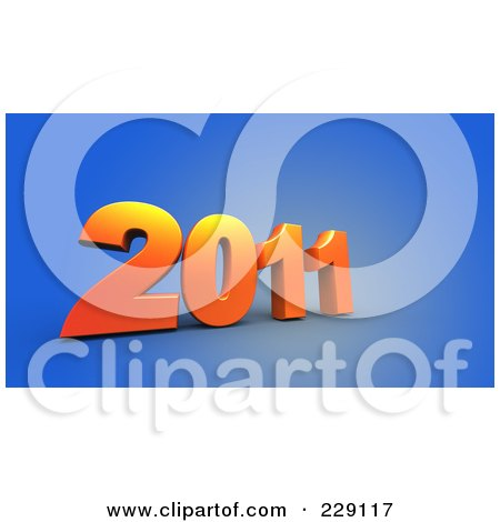 Royalty-Free (RF) Clipart Illustration of a 3d Blue New Year 2011 On A Brown Background by chrisroll
