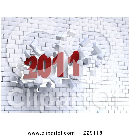 Royalty-Free (RF) Clipart Illustration of a 3d Red New Year 2011 Breaking Through A White Brick Wall by chrisroll