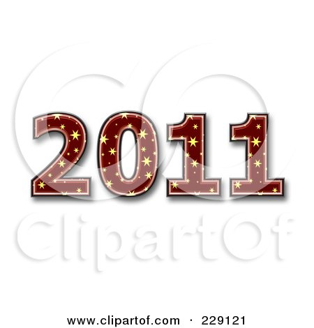 Royalty-Free (RF) Clipart Illustration of a 3d Red Starry New Year 2011 by chrisroll