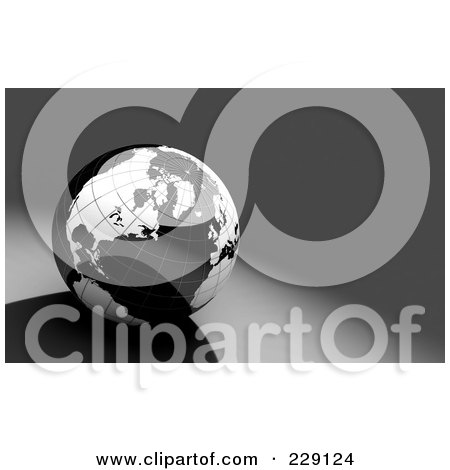 Royalty-Free (RF) Clipart Illustration of a Shiny 3d Black And White Globe Over Gray by chrisroll