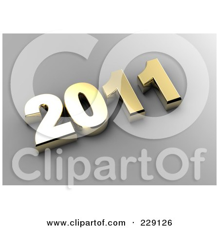 Royalty-Free (RF) Clipart Illustration of a 3d Golden New Year 2011 On A Gray Background by chrisroll