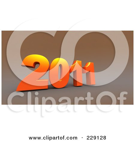 Royalty-Free (RF) Clipart Illustration of a 3d Orange New Year 2011 On A Brown Background by chrisroll