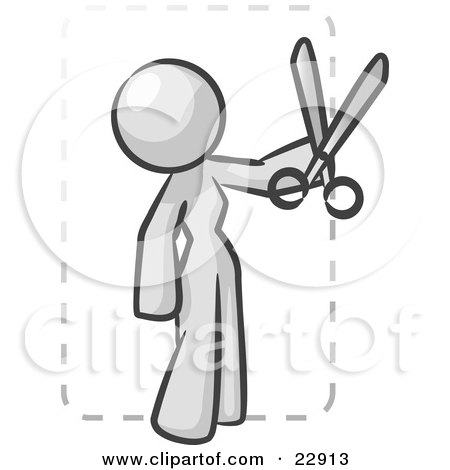 Clipart Illustration of a White Lady Character Snipping Out A Coupon With A Pair Of Scissors Before Going Shopping by Leo Blanchette