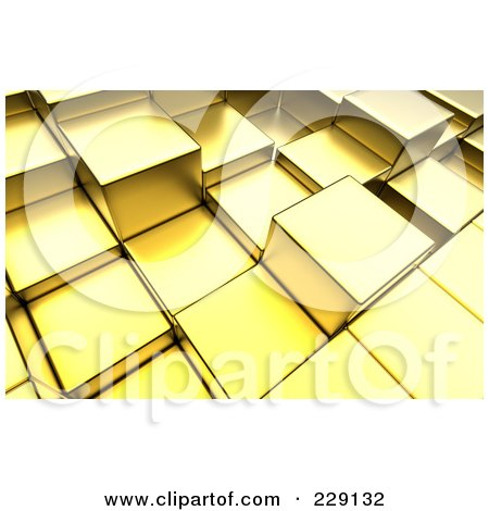 Royalty-Free (RF) Clipart Illustration of a 3d Background Of Golden Towers by chrisroll