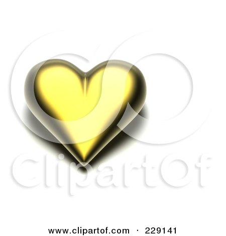 Royalty-Free (RF) Clipart Illustration of a 3d Gold Heart With A Dark Shadow by chrisroll