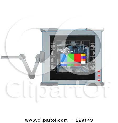 Royalty-Free (RF) Clipart Illustration of a 3d Digital Display On An Adjustable Hinge by 3poD