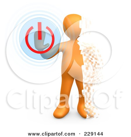 Royalty-Free (RF) Clipart Illustration of a 3d Pixelated Orange Person Turning The Power Off by 3poD