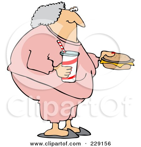 Royalty-Free (RF) Clipart Illustration of a Fat Granny In Pink Sweats, Carrying A Soda And Cheeseburger by djart