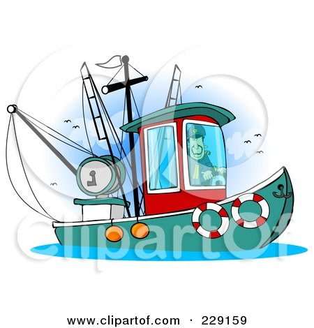 Royalty-Free (RF) Clipart Illustration of a Trawler Fishing Boat At Sea - 5 by Dennis Cox