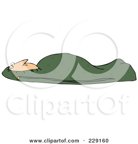 Royalty-Free (RF) Clipart Illustration of a Man Tucked In A Green Mummy Sleeping Bag by djart