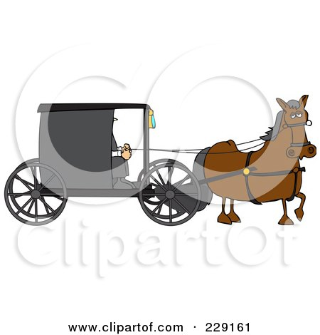 Royalty-Free (RF) Clipart Illustration of a Brown Horse Pulling An Amish Buggy by djart