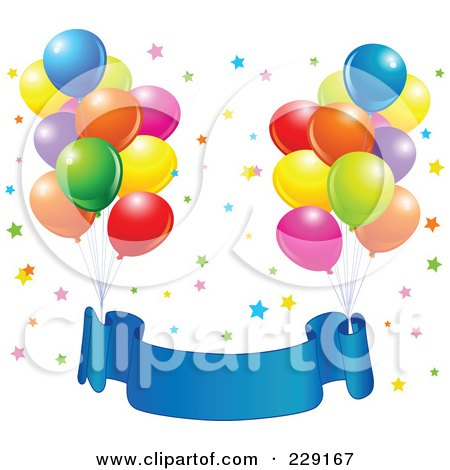 Royalty-Free (RF) Clipart Illustration of Bundles Of Party Balloons Tied To A Blue Birthdday Banner Over Colorful Stars by Pushkin