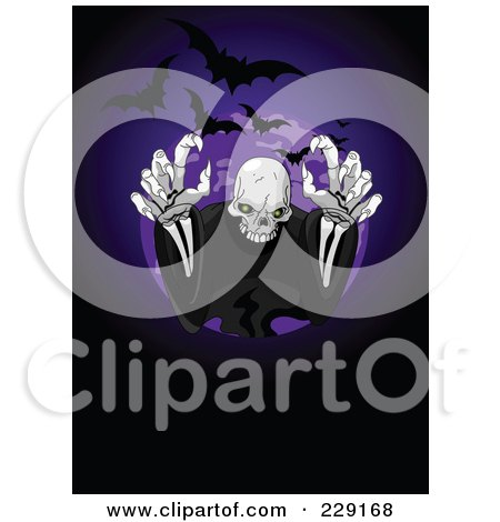Royalty-Free (RF) Clipart Illustration of a Creepy Skeleton Ghost Reaching Outwards With Bats And A Full Moon On Purple And Black by Pushkin