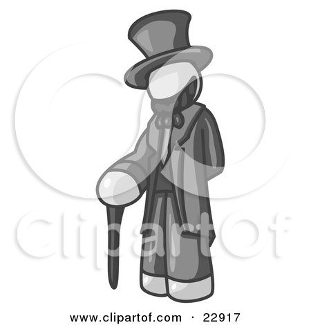 Clipart Illustration of a White Man Depicting Abraham Lincoln With a Cane by Leo Blanchette