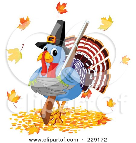 Royalty-Free (RF) Clipart Illustration of a Cute Pilgrim Thanksgiving Turkey Holding A Shotgun And Standing In Autumn Leaves by Pushkin