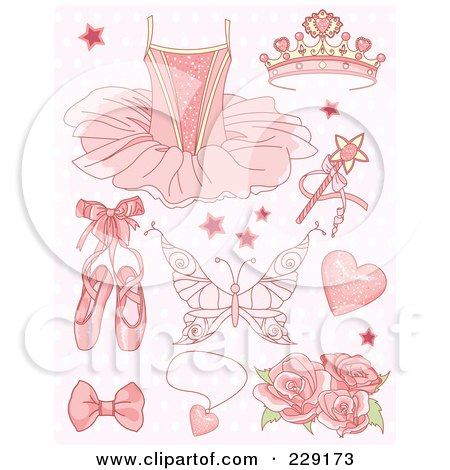 Royalty-Free (RF) Clipart Illustration of a Digital Collage Of Pink Princess And Ballet Icons On A Patterned Background by Pushkin