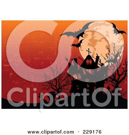 Royalty-Free (RF) Clipart Illustration of a Silhouetted Haunted House With Graveyard, Full Moon And Bats Against A Grungy Orange Sky by Pushkin