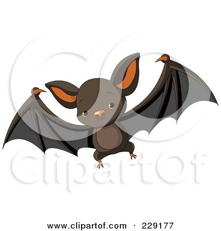 Royalty-Free (RF) Clipart Illustration of a Cute Baby Vampire Bat by Pushkin