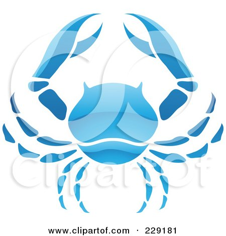 Royalty-Free (RF) Clipart Illustration of a Shiny Blue Cancer Zodiac Logo Icon by cidepix