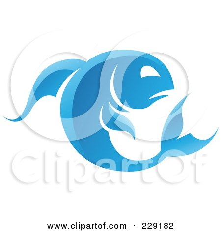 Royalty-Free (RF) Clipart Illustration of a Shiny Blue Pisces Zodiac Logo Icon by cidepix