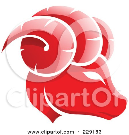 Royalty-Free (RF) Clipart Illustration of a Shiny Red Aries Zodiac Logo Icon by cidepix