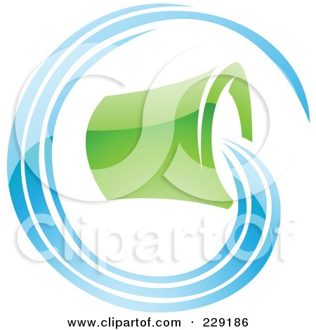 Royalty-Free (RF) Clipart Illustration of a Shiny Blue And Green Aquarius Zodiac Logo Icon by cidepix