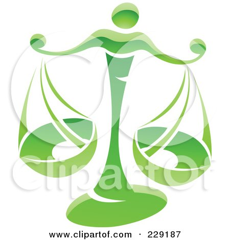 Royalty-Free (RF) Clipart Illustration of a Shiny Green Libra Zodiac Logo Icon by cidepix