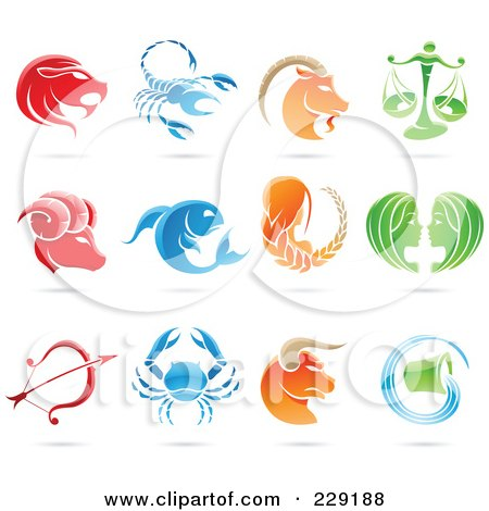 Royalty-Free (RF) Clipart Illustration of a Digital Collage Of Shiny Astrology Zodiac Logo Icons by cidepix