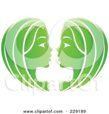 Royalty-Free (RF) Clipart Illustration of a Shiny Green Gemini Zodiac Logo Icon by cidepix